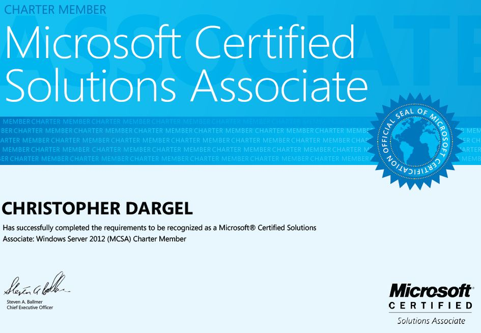 Finally Got Certified In Server 2012 Christopher Dargels Exchange